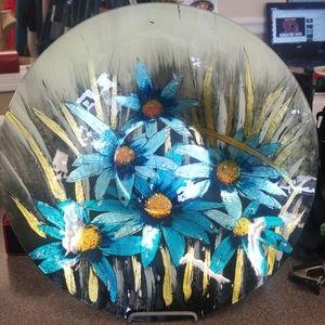 Azure daisy round plate